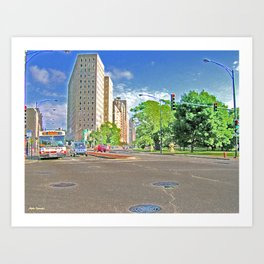Lincoln Avenue Stop with Accented Edges Art Print