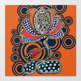 Madhubani - Lotus Fish 1 Canvas Print