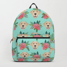 Yellow Labrador Retriever floral bouquet flowers yellow lab dog breed pattern gifts Backpack