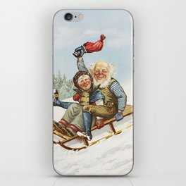 Vintage Christmas : Older Couple Wintry Fun 1890 iPhone Skin