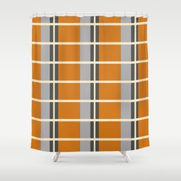 Minimal Abstract Vintage Cream Orange Grey 08 Shower Curtain