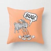 bug Throw Pillows featuring BUG! by Laurie A. Conley
