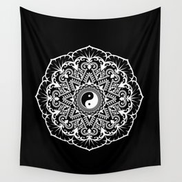 Taoist Mandala - White on Black Wall Tapestry