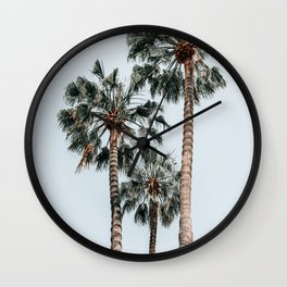 Palm Trees, Miami Summer Vibes, Minimalist Art Print, Minimal Pastel Colored Coconut Trees, Summer Time Poster, Palm Tree Print, Beach Vibes, Home Decor, Wall Art Print Wall Clock