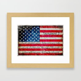 Distressed American Flag and 2nd Amendment On White Bricks Wall Framed Art Print