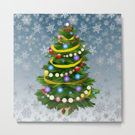 Christmas tree & snow Metal Print