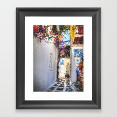 Tiffany Glass Style Greece Street Framed Art Print