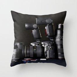 Set of photographs DSLR camera, lens and flash Throw Pillow