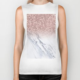 She Sparkles Rose Gold Marble Luxe Biker Tank