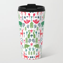 Christmas woodland scandinavian folk animals forest nature pattern gifts Travel Mug
