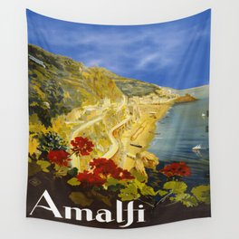 Vintage Amalfi Italy Travel Wall Tapestry