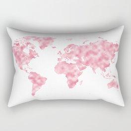 Mermaid Pink World Map Rectangular Pillow
