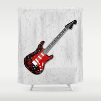 music notes Shower Curtains featuring Music Notes Electric Guitar by GBC Design
