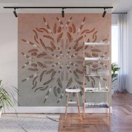 Apricot Gray Feather Mandala Wall Mural