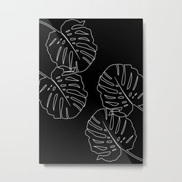 Monstera Leaves Finesse Line Art #3 #minimal #decor #art #society6 Metal Print