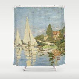 Regattas at Argenteuil by Claude Monet Shower Curtain