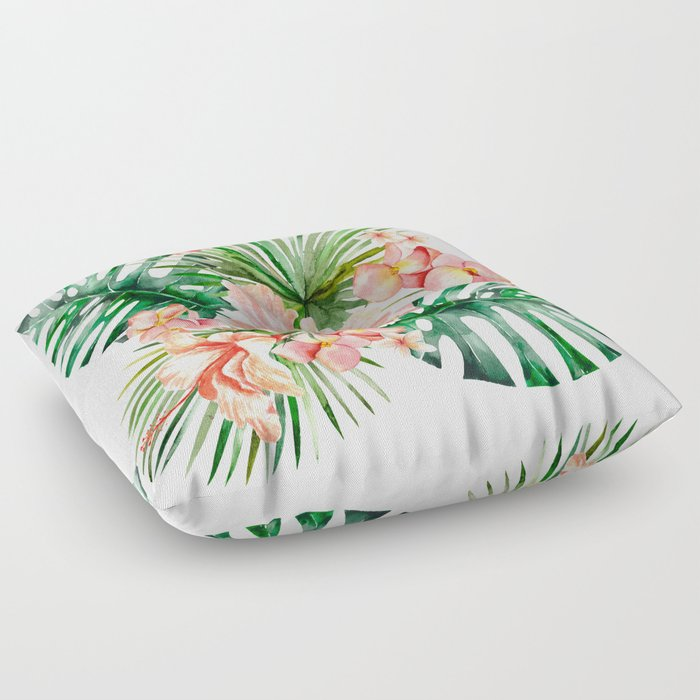 Tropical Jungle Hibiscus Flowers - Floral Floor Pillow by ...