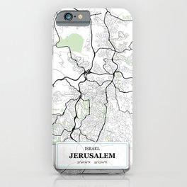 Jerusalem Israel City Map with GPS Coordinates iPhone Case