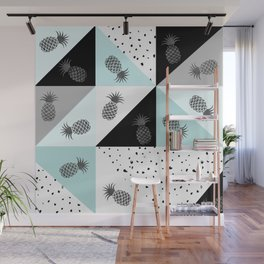 Teal black white dots pineapple geometrical color block Wall Mural