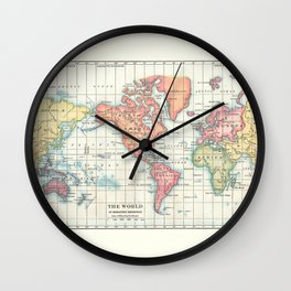 World Map - Colorful Continents Wall Clock