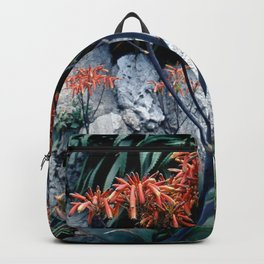 Succulent Garden Coral Orange and Green Backpack