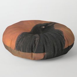 Crow Portrait In Black And Orange Floor Pillow