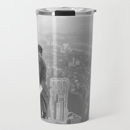 A construction worker on top of the Empire State Building in 1930, New York. Travel Mug