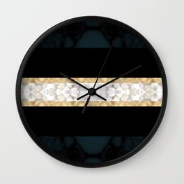 Midnight Blue Marble with Gold Glitter Ribbon Wall Clock