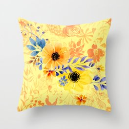 Watercolour Spring Flowers Throw Pillow