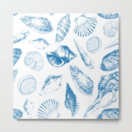 Tropical underwater creatures in blue and white Metal Print