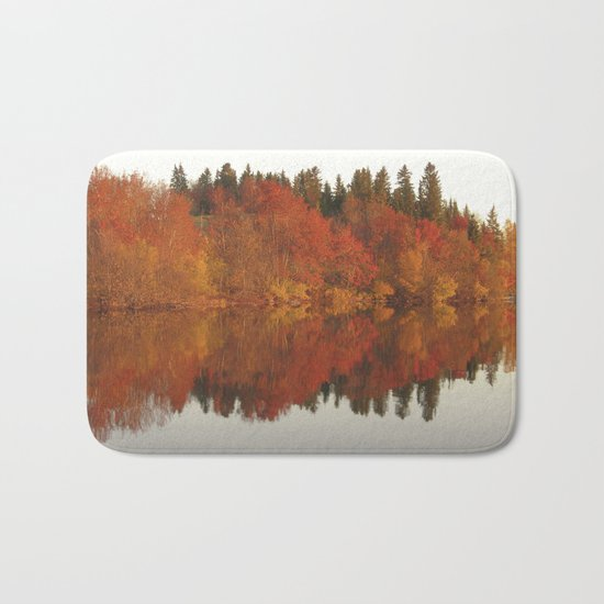 Colorful autumn trees reflection in the lake Bath Mat