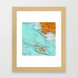 Long Beach colorful old map Framed Art Print