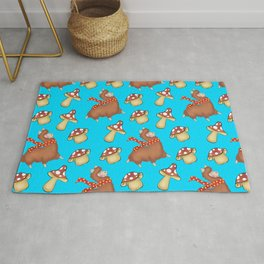 Cute happy llamas with warm scarves and funny whimsical little mushrooms seamless pattern design Rug
