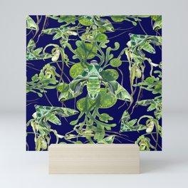 Evergreen Hawk Moth on seaweed, algae, and orchids Mini Art Print