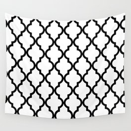 Moroccan Quatrefoil Pattern: Black & White Wall Tapestry