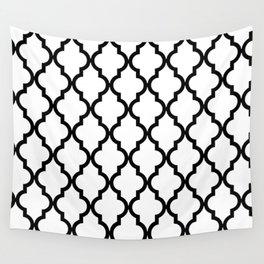 Moroccan Quatrefoil Pattern: Black & White Wall Tapestry
