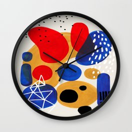 Fun Mid Century Modern Abstract Minimalist Vintage Primary Colors Blue Red Yellow Bubbles Wall Clock