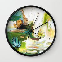"""flora bowley Wall Clocks featuring """"Rise Above"""" Original Painting by Flora Bowley by Flora Bowley"""