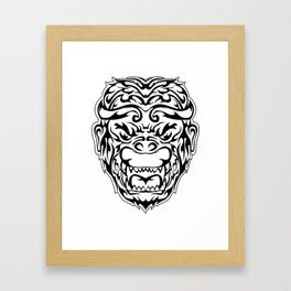 Tribal Monkey Head Framed Art Print