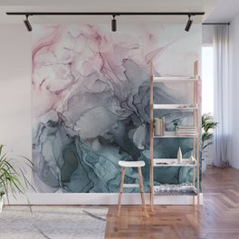 Blush and Paynes Gray Flowing Abstract Reflect Wall Mural