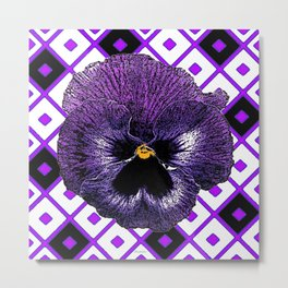 Purple & Black Pansy White Pattern Art Metal Print