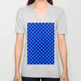 Brandeis Blue and Navy Blue Checkerboard Unisex V-Neck