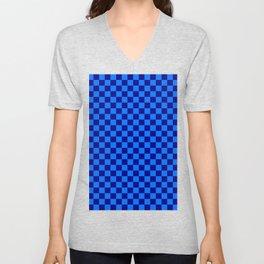 Brandeis Blue and Navy Blue Checkerboard Unisex V-Neck