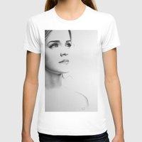 emma watson T-shirts featuring Emma Watson Minimal Drawing by Ileana Hunter