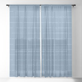 Broken stripes // Steel blue Sheer Curtain