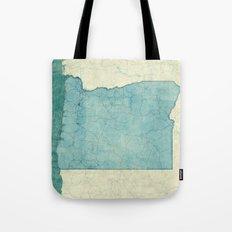 Oregon State Map Blue Vintage Tote Bag