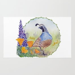 California Quail with Poppies and Lupine Rug