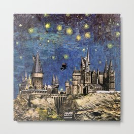 Hogwarts Starry Night Metal Print