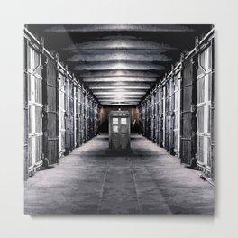 Tardis In The Old Jail Cell Metal Print