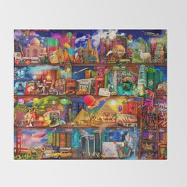 World Traveler Book Shelf Throw Blanket